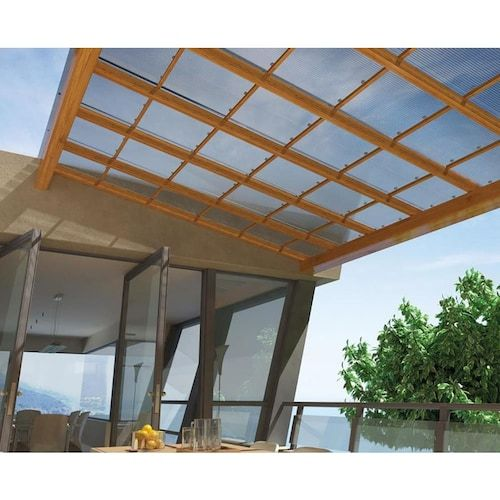 Tuftex Multi Wall 6mm Panel Clear 4 Ft X 8 Ft Corrugated Clear Polycarbonate Plastic Roof Panel Lowes Com Clear Roof Panels Roof Panels Backyard Buildings