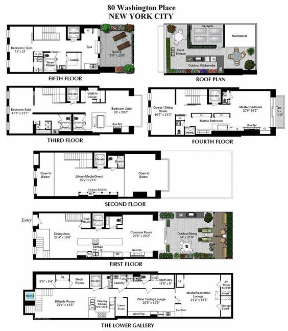 Floor plans converted townhouse in greenwich village in for Apartment floor plans new york city
