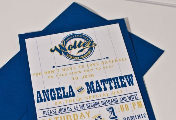 Brewers Blue And yellow Wedding Invitation