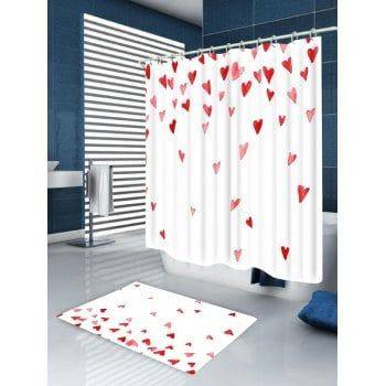 Valentine S Day Heart Of Love Printed Shower Curtain White Red