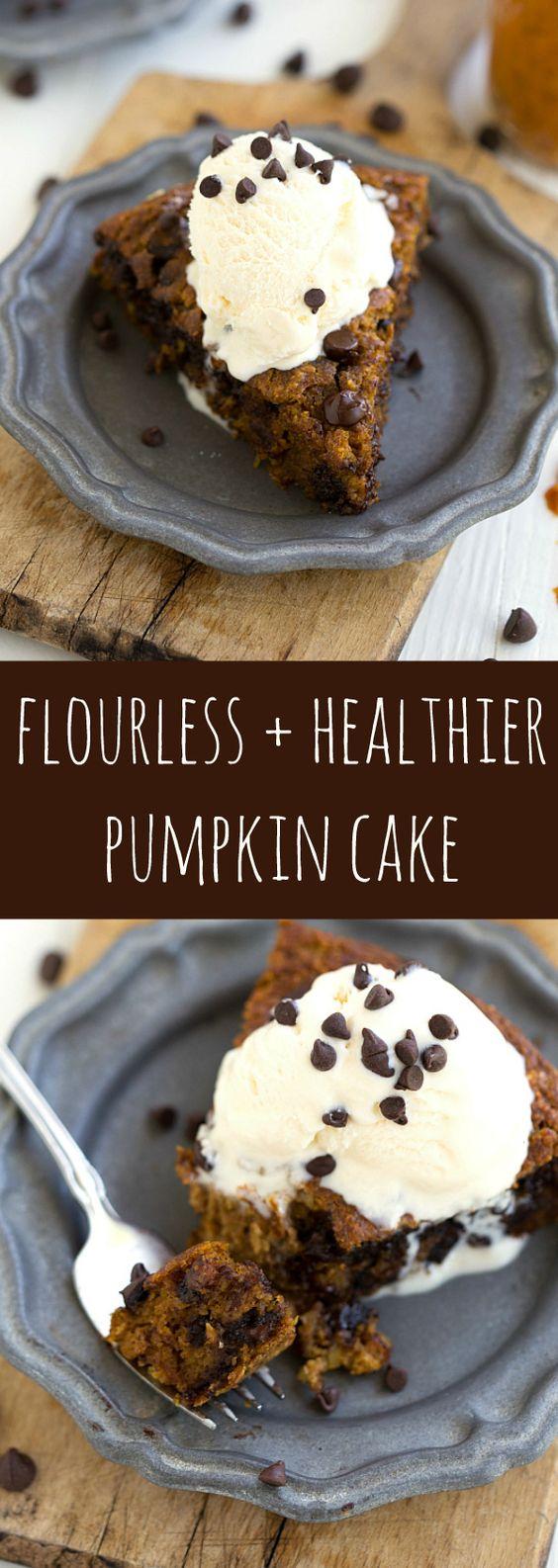 The BEST healthier and flourless pumpkin cake -- no flour, butter, and much lower sugar. Gluten free recipe