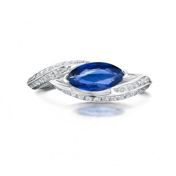 Iconic Platinum 1.54ct Marquise Cut Sapphire and Diamond Ring