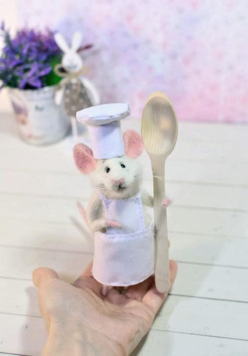 Needle wool White mouse Mouse kitchen Mouse and kitchen Cute ...