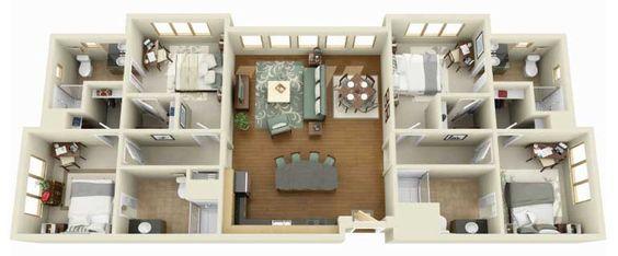 planta de casas grandes e modernas com 4 quartos em 3d - Pesquisa Google