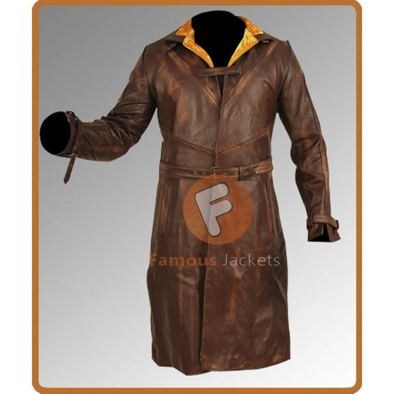 Aiden Pearce Stylish Brown Leather Long Coat | mens leather jacket ...