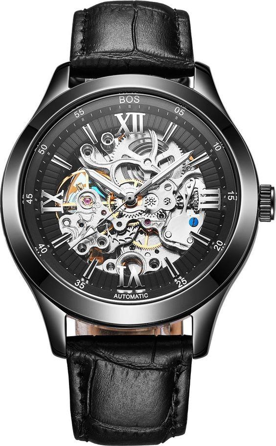 BOS Men's Automatic Mechanical Luminous Skeleton Watch Black Dial Calfskin Band 9008