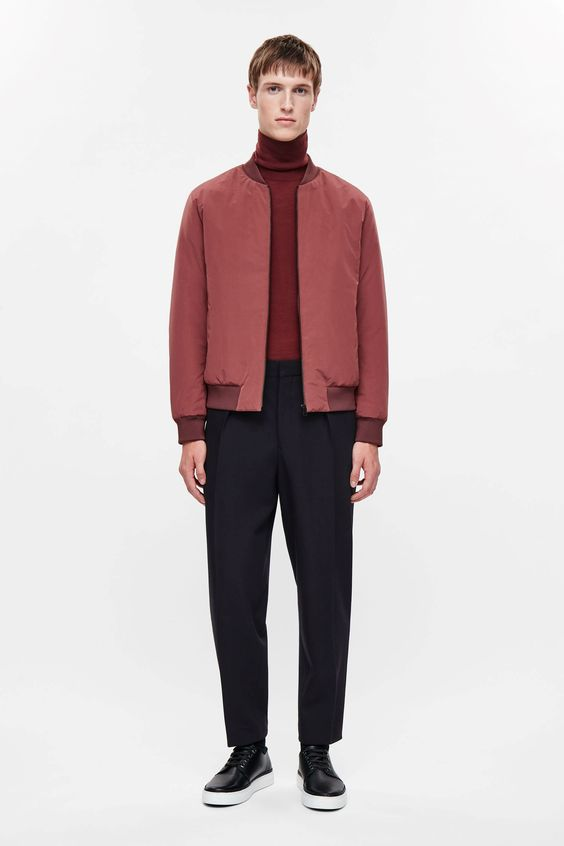 COS image 1 of Padded zip-up jacket in Red Ochre