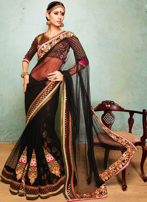 Shapely Black Embroidered, Lace, Resham and Stone Faux Georgette and Net Designer Saree www.ethnicoutfits.com Email : support@ethnicoutfits.com What's app : +918141377746 Call : +918140714515