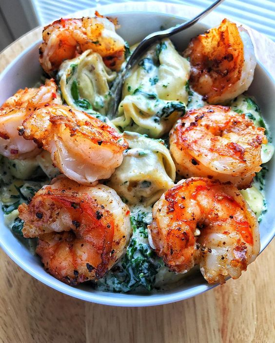 Creamed Spinach Tortellini with Old Bay Shrimp The recipe ishellip