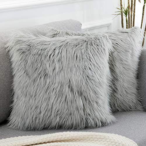 wlnui decorative light gray fluffy