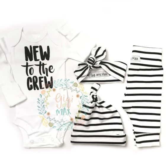"""Hi there! Welcome to Gigi and Max! This handmade outfit is beyond perfect for any sweet baby on the way. Pants, knot hat, and headband are made out of a super soft stretchy knit. The onesie professionally heat pressed with our """"new to the crew"""" design. This listing is for a Gender Neutral Black and White stripe theme going home set for a little boy OR girl! Leggings and onesie are newborn size. Also included is a newborn matching knot hat AND a newborn headband. Onesie is also available in…"""