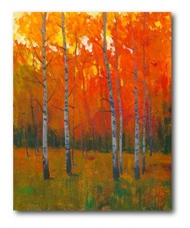 Look what I found on #zulily! Autumn Birch Trees Wrapped Canvas #zulilyfinds( I think I could paint this myself though)