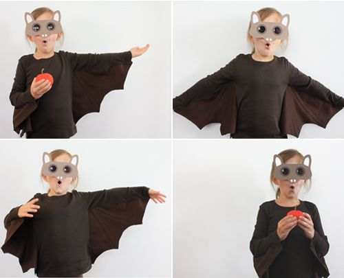 Adorable DIY bat costume made from felt, long sleeved shirt, and printable mask.