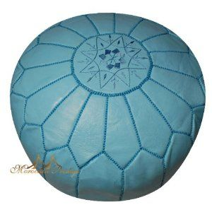 "Moroccan Poufs Sky Blue Leather #Pouf Ottoman Moroccan Poufs - Moroccan Designer handmade sky blue leather pouf beautiful decorated with silk embroidery D20""x h14"" #homeandgarden"