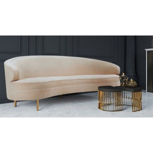Curved Cream Chenille Sofa Gold Pencil Legs Gold Sofa Chenille Sofa Furniture