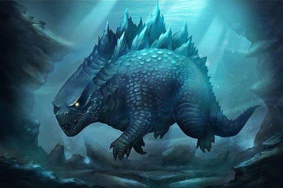 Godzilla swimming