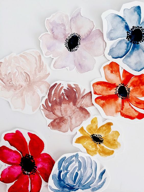 hand painted floral gift tags: