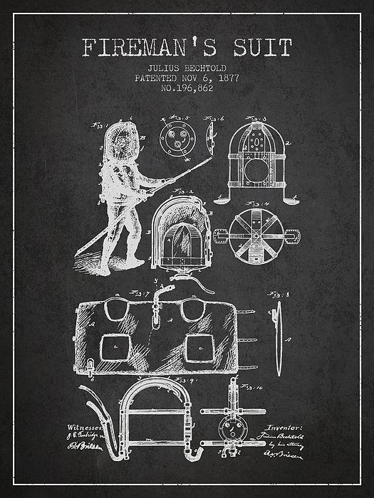 1877 Firemans Suit Patent Charcoal By Aged Pixel Patent Art Prints Patent Art Patent Prints