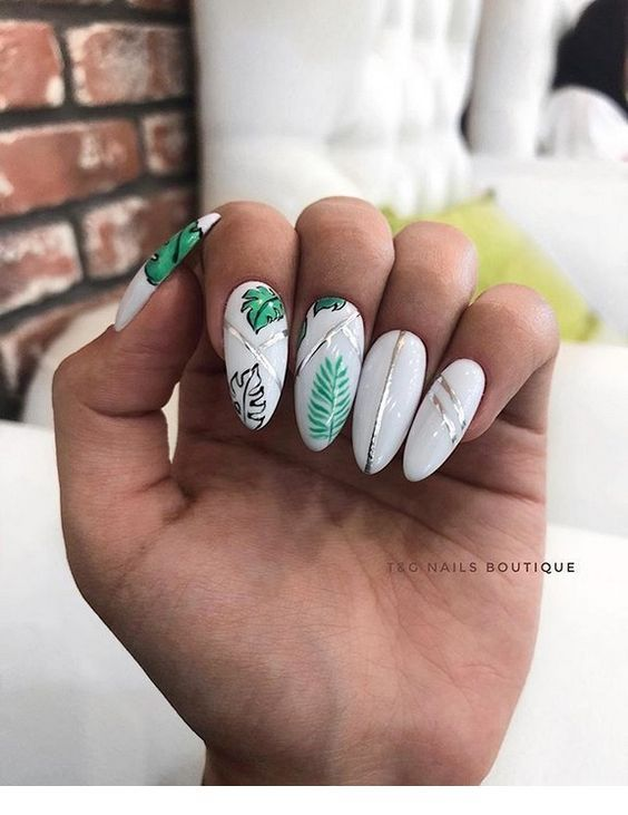 White Nails And Green Leaf Miladies Net Bride Nails Classic Nails Short Nail Designs