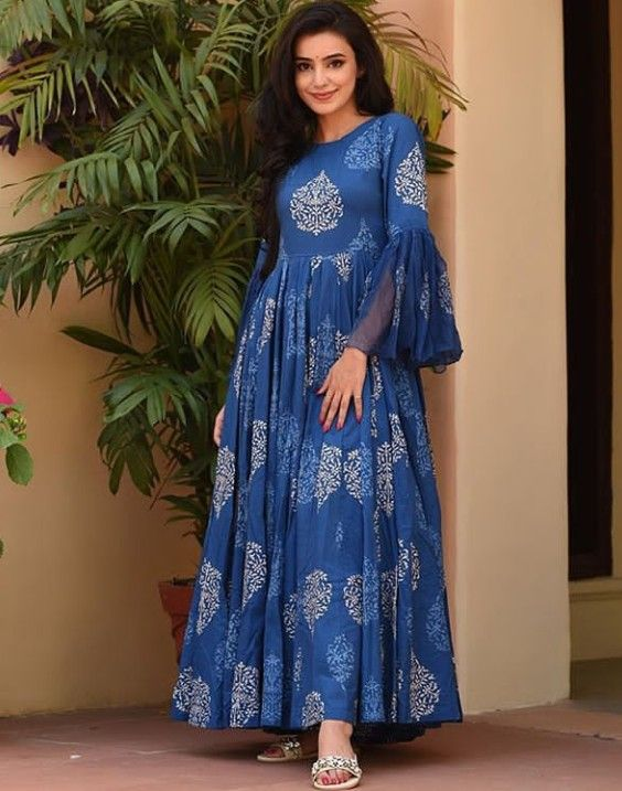 Beautiful Hand Block Printed Kurti Long Dress Kurti Long Dress Design Kalamkari Dresses Long Kurti Designs