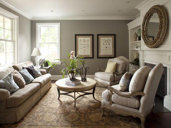 Best Grey Blue Living Room Tan Creme Furniture White Trim 400 x 300