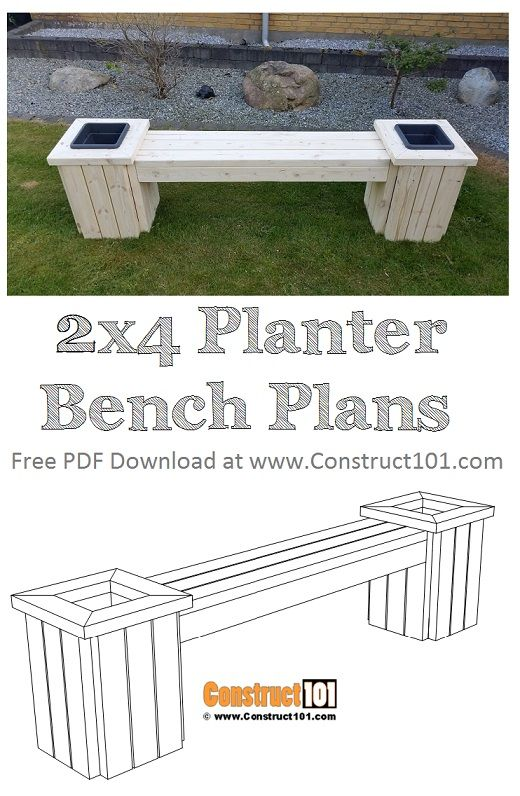 Planter Bench Plans Pdf Download Construct101 Diy Bench Outdoor Planter Bench Wood Bench Outdoor