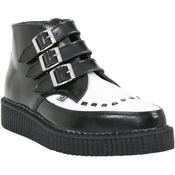 T.U.K Black White Pointed Leather Creeper Boots Hot Topic ($9.37) ❤ liked on Polyvore featuring shoes, boots, genuine leather shoes, black white shoes, pointy boots, leather shoes and creeper boots