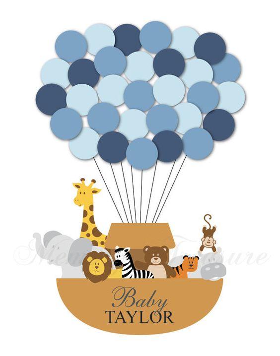 Baby Shower Guest Book Alternative Noah's Ark Children Kids Birthday Balloons Poster Print Guest Sign Personalized Unique Creative Original