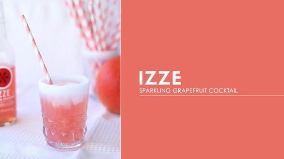 Izze Sparkling Grapefruit Cocktail // cocktails, weddings, drinks, recipes: Recipes Cocktails, Cocktail Recipes, Cocktails Beverages, Celebratory Signature, Weddings Drinks, Cocktails Weddings, Signature Cocktails