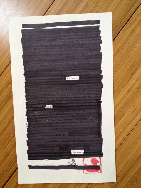 one of the moby dick blackout poems i'm making 4 kickstarter rewards