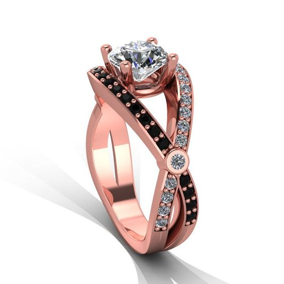 Rose gold black diamond and white diamond engagement ring. Style 2RGDBLM