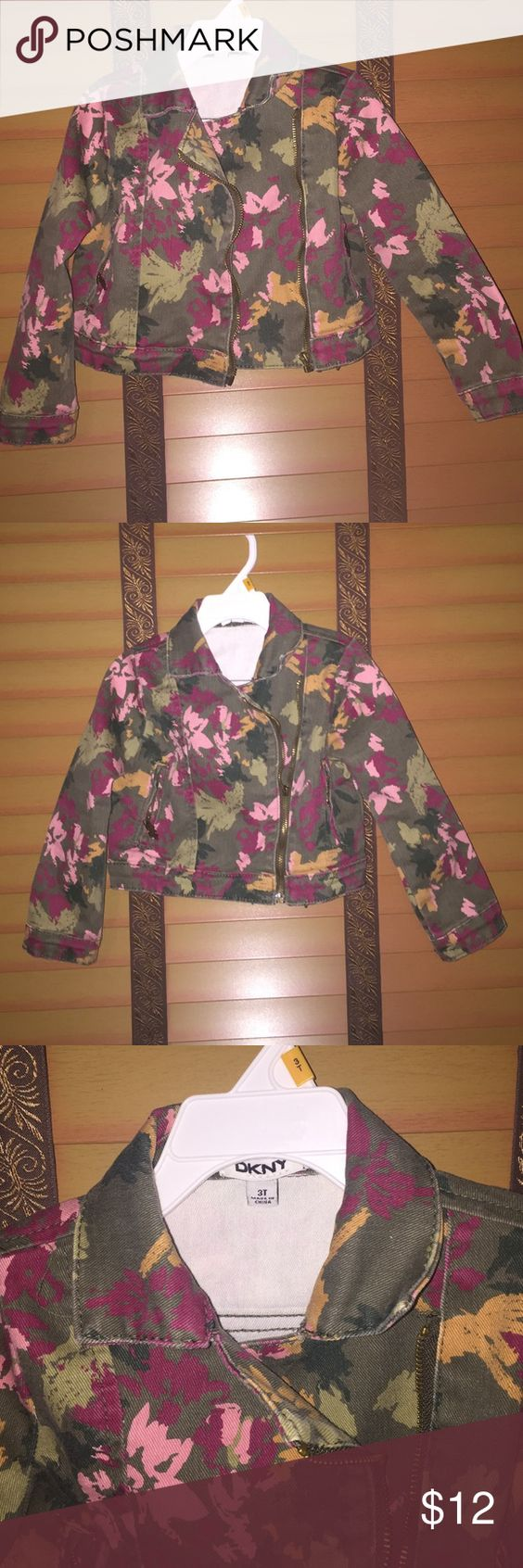 DKNY Denim camo print jacket Size 3T camo print denim jacket. Cute and very trendy. Great to accessorize any outfit. Worn a few times DKNY Jackets & Coats Jean Jackets