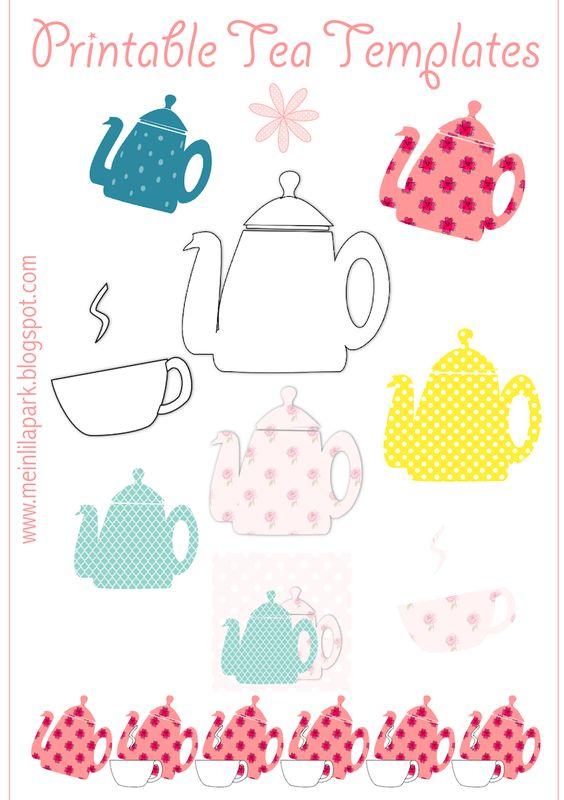 Free printable tea templates + digital teapot stamp - Teekanne Druckvorlage - freebie | MeinLilaPark – DIY printables and downloads