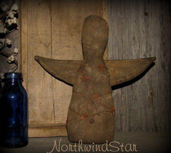 Colonial Primitive Angel Doll Shelf Sitter Ornie by northwindstar, $13.99