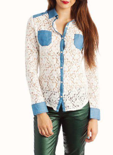 Lace Chambray Shirt Chiqle. $33.40