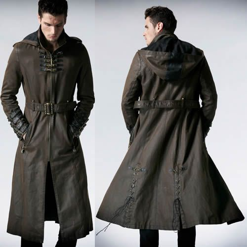 Men Brown Leather Hooded Steampunk Goth Military Trench Coat