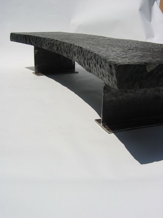 Burned wood slabe bench custommade by michael wilson for Burned wood furniture