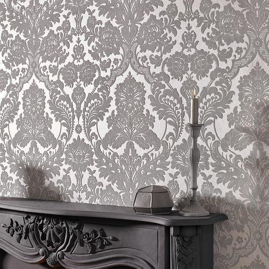 Gothic Damask Flock Grey Silver Wallpaper Graham Brown Uk