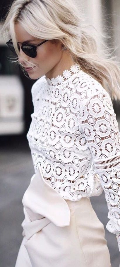 White lace top with cream skirt. Elegant, chic, sophisticated outfit perfect for day to night glamour. #Mylifemystyle