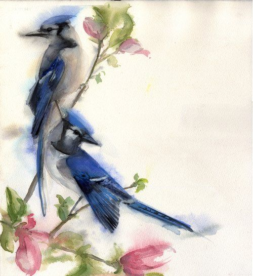Blue Jay Pair Bird Art Watercolor Bird Watercolor