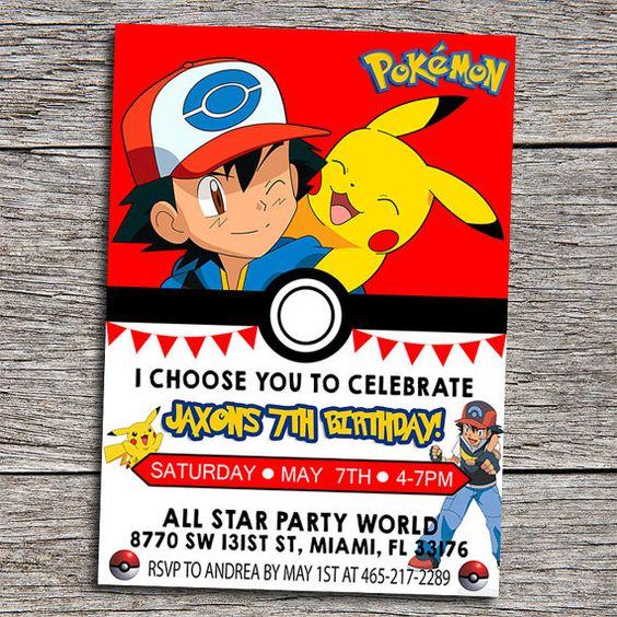 pokemon custom digital file birthday party invitation printable, Party invitations
