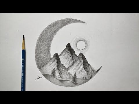 كيفية رسم منظر طبيعي ليلي سهل خطوة خطوة رسم سهل وبسيط تعلم الرسم من الصفر دورات تعليم الرسم Youtube Drawings Easy Drawings Sketches Easy