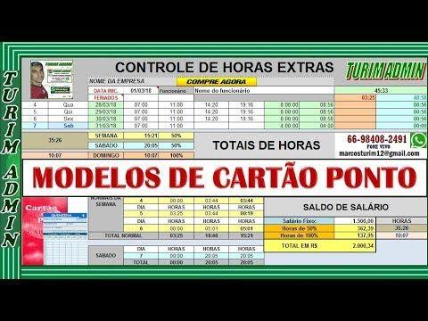 Planilha Controle Cartao Ponto Personalizada Com As Horas R 50