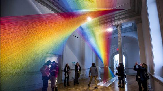 - Instalação do artista  mexicano Gabriel Dawe na Renwick Gallery,em Washington. Foto: Jim Lo Scalzo/EFE