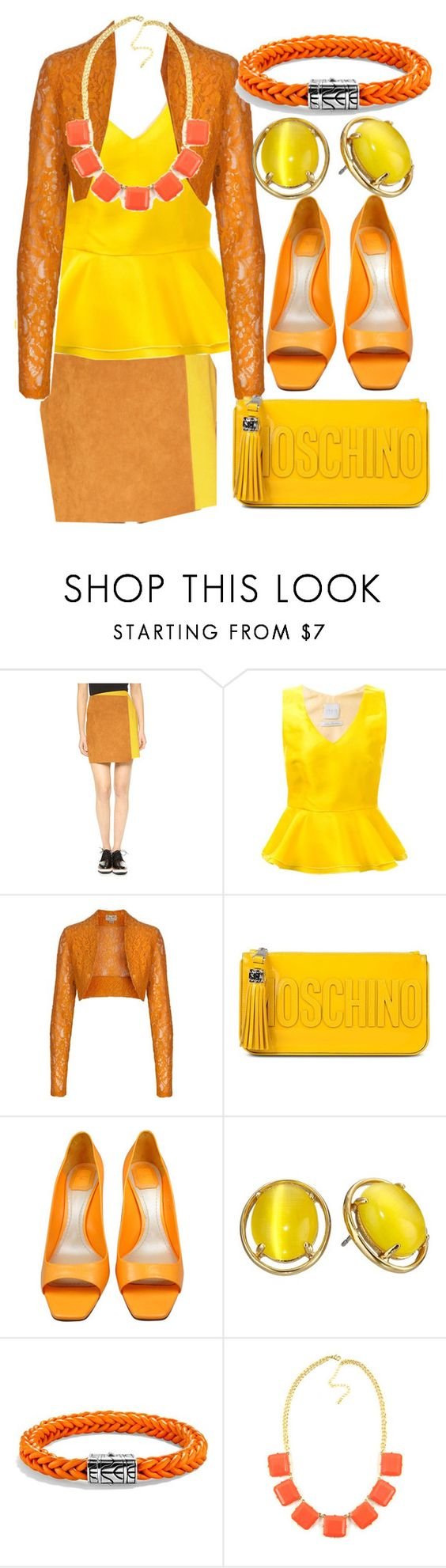 """Color Block 8"" by egordon2 ❤ liked on Polyvore featuring MSGM, Ingie Paris, Moschino, Christian Dior, Kate Spade, John Hardy, yellow, orange and colorblock"