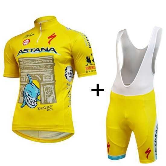 Astana Nibali Tour de France 2014 Ropa de ciclismo Maillot Manga Corta + Babero Corta