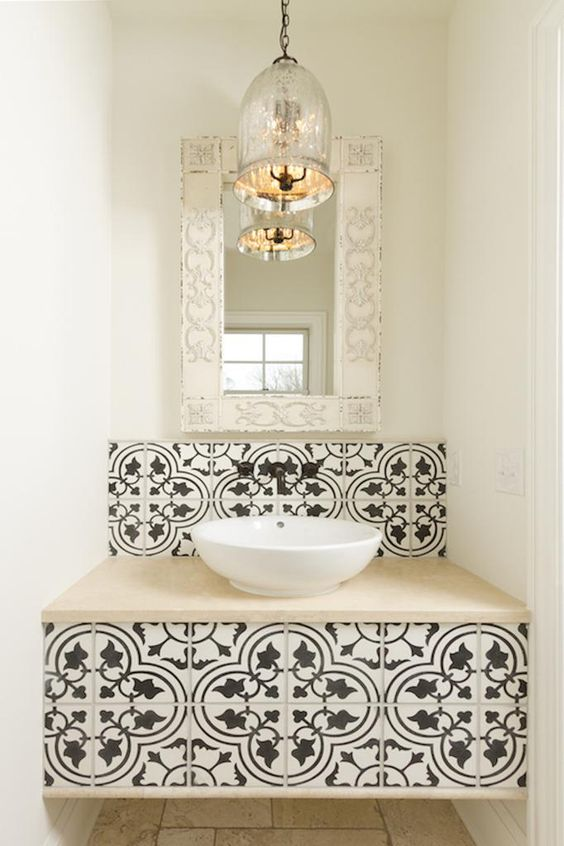 vanity with cement tile accents
