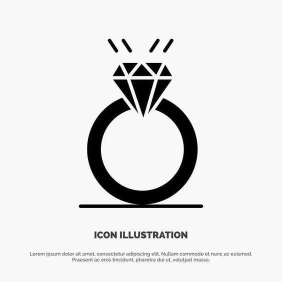 خاتم الخواتم المرسومة ملحق خلفية Png والمتجهات للتحميل مجانا Glyph Icon Glyphs Wedding Ring Icon