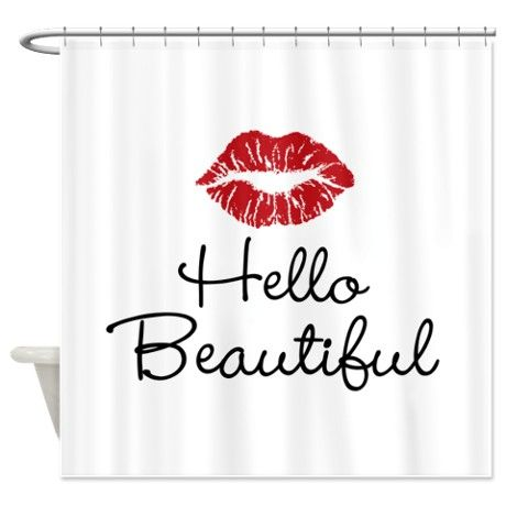 Hello Beautiful Red Lips Shower Curtain on CafePress.com