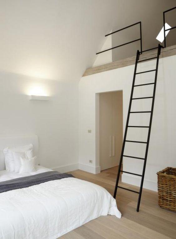 Interieuridee n slaapkamer met vide en trap door merlemathijssen home pinterest - Bed kamer mezzanine ...